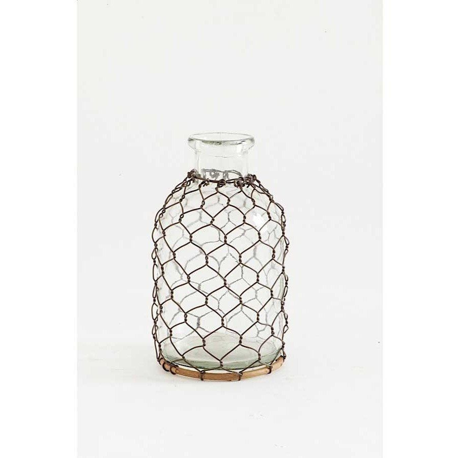 Small Glass Bottle with Chicken Wire | Entryway/Foyer | Pinterest ...