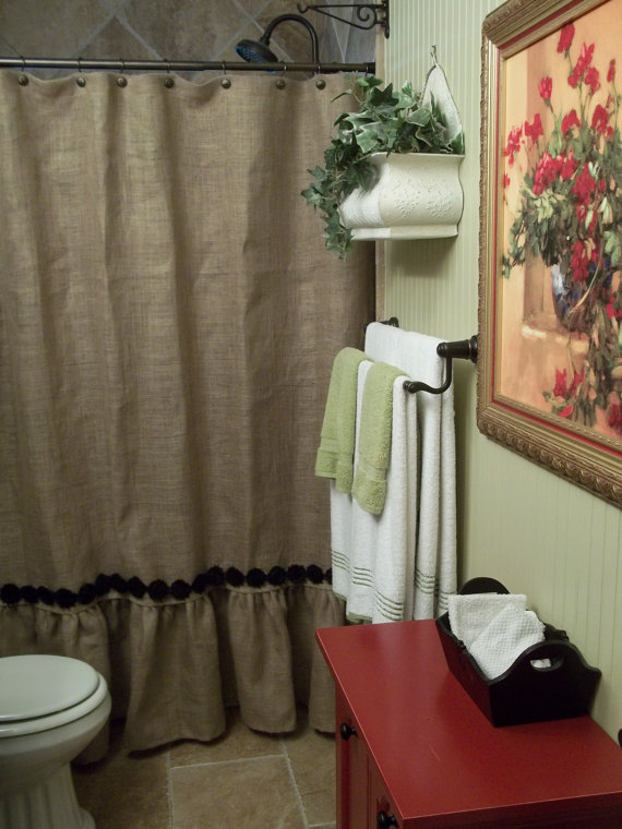 Ruffled Bottom Burlap Shower Curtain with by SimplyFrenchMarket, $72.00  http://www.etsy.com/shop/simplyfrenchmarket