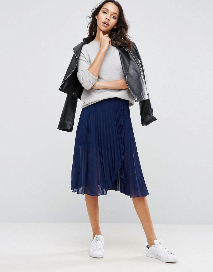 59f9bd904f ASOS Pleated Midi Skirt with Wrap Front Detail - Navy | Shop the ...