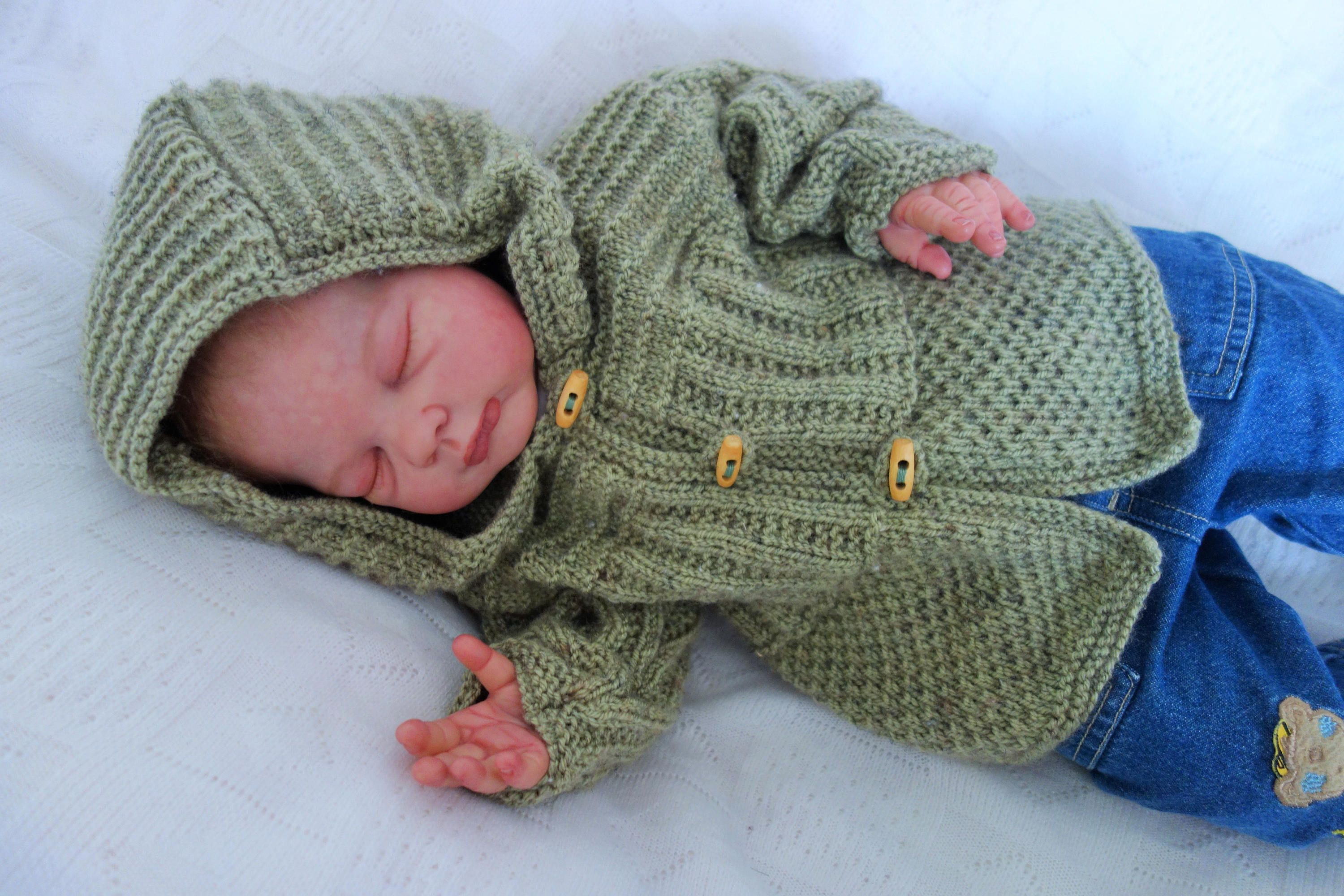 fd988991f Hand knitted baby s hooded cardigan sweater knitted in soft DK in ...