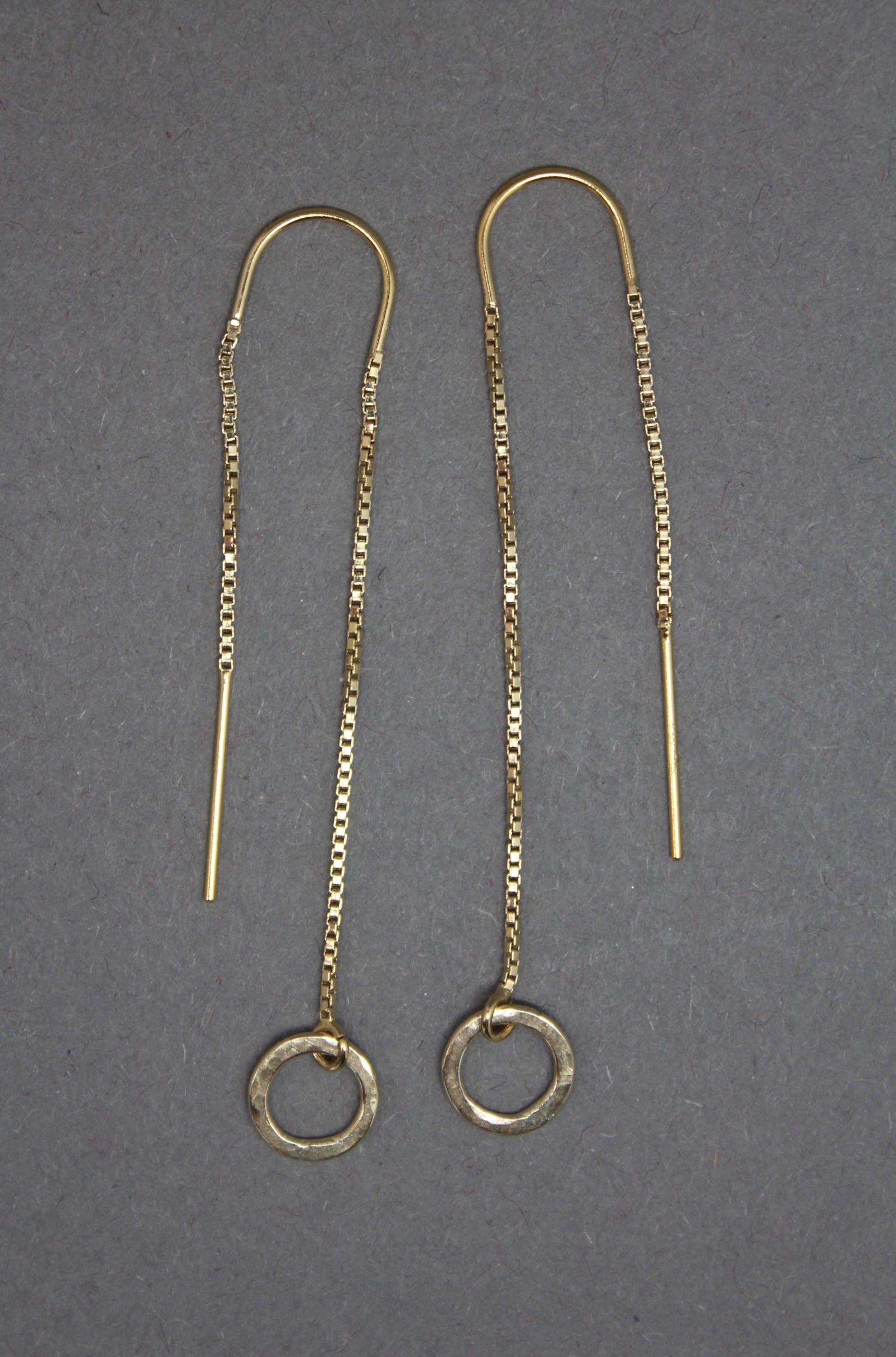 14k Gold Filled Threader Earrings Long Thread Ear Threaders Hoop By Ahjewellery1