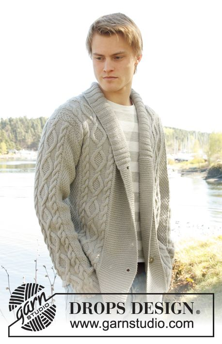 Knitted Drops Mens Jacket With Cable Pattern And Shawl Collar In