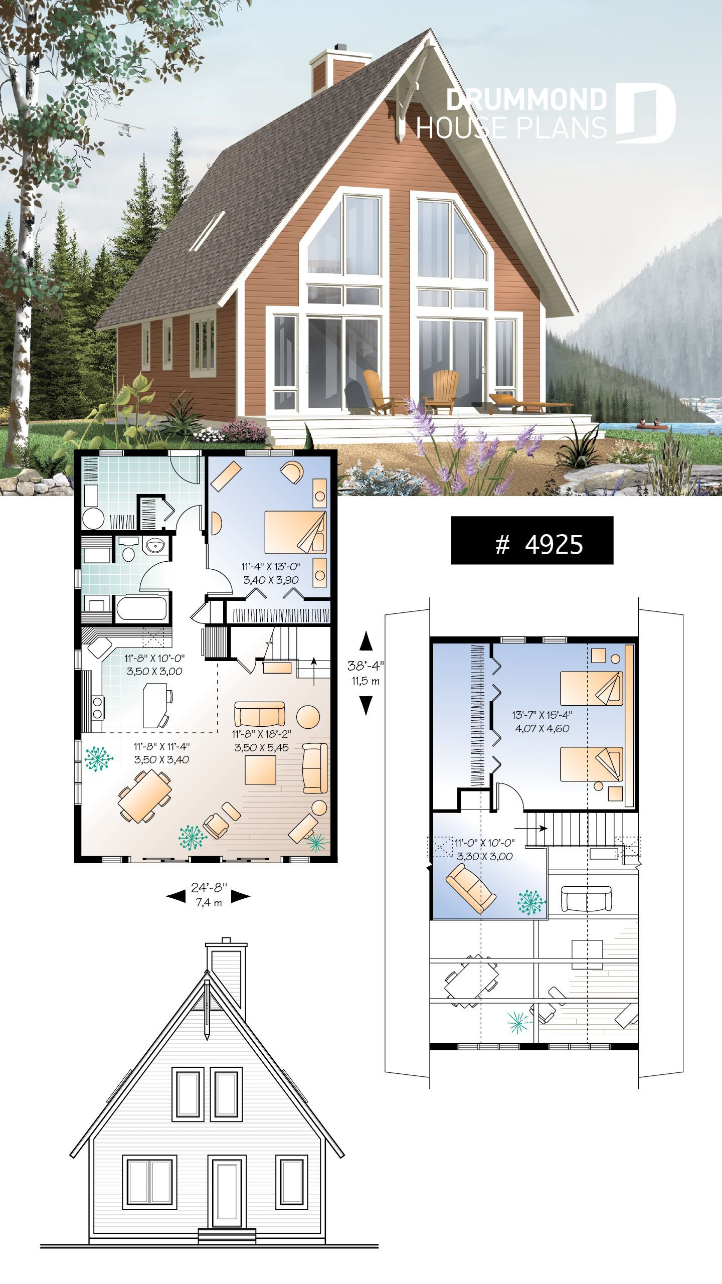 Traditional A Frame Rustic Cottage With Scandinavian Inspiration Mezzanine And Cathedral Ceiling 4925 Cottage Floor Plans A Frame House Plans Cottage Plan