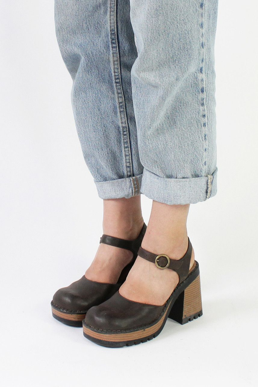 4c995fcdc1d25 Vintage 90s Dark Brown Chunky Mary Jane Heels | 6.5 | Products ...