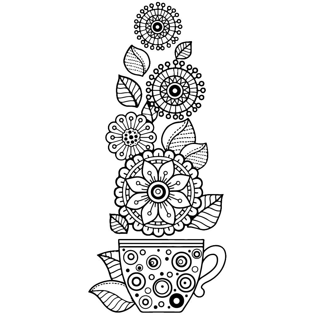 Flowers In A Tea Cup Coloring Page Abstract Coloring Pages