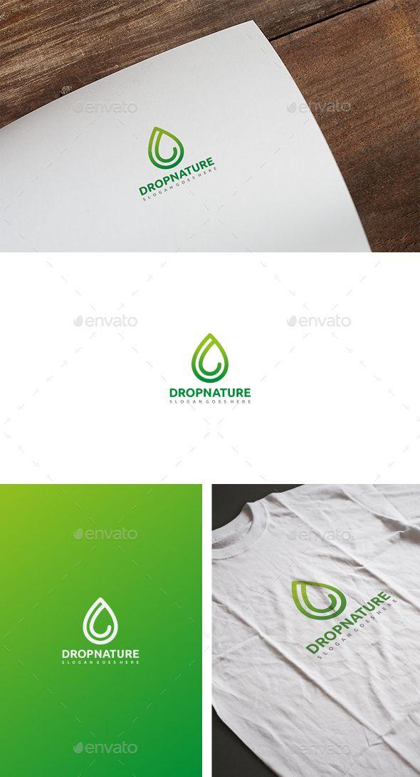Drop Nature Logo Nature logos and Logos - editable leaf template