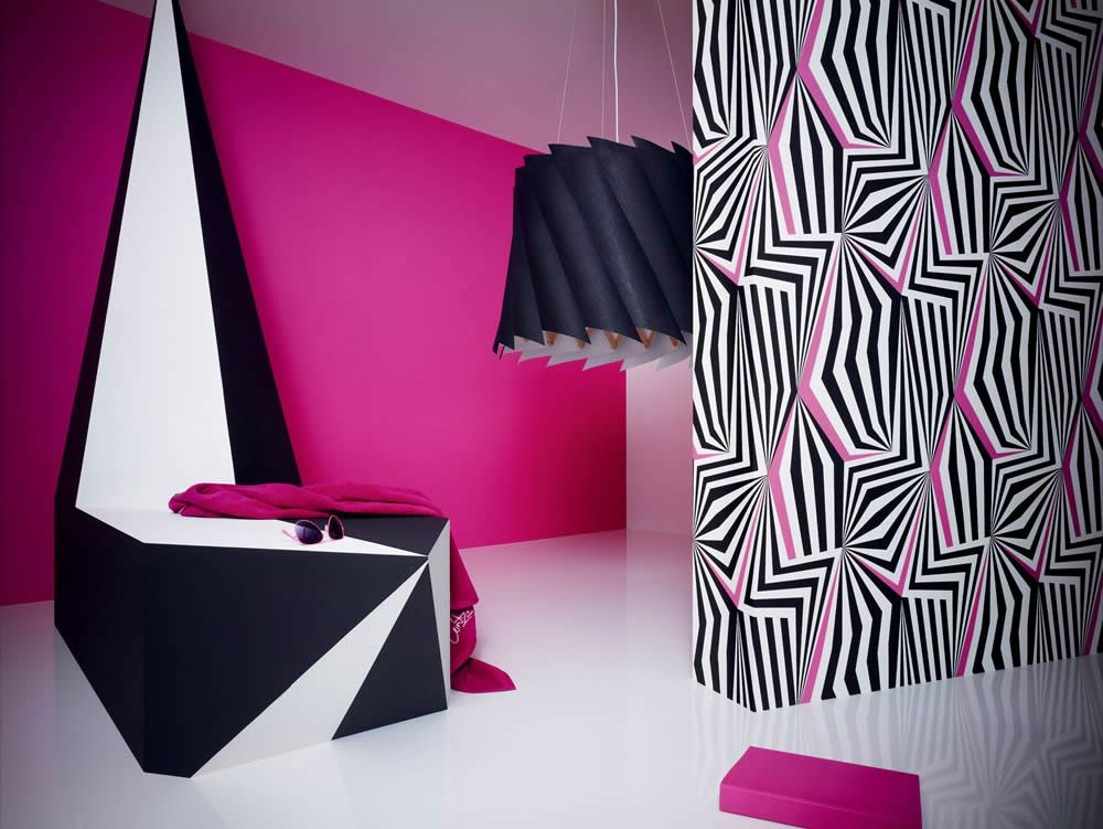 Fesselnd Happy Space   Vliestapete Retro Lars Contzen 3 Tapete 8812 12 881212  Schwarz Pink