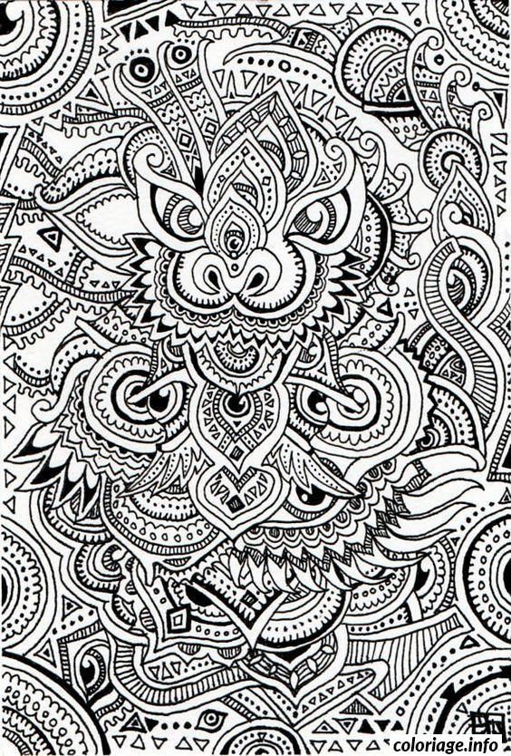 Coloriage difficile dragon chinois adulte dessin - Mandalas adultes gratuits ...