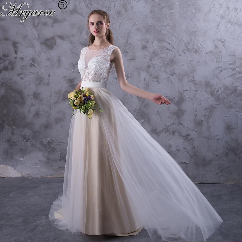 Mryarce Beach Wedding Dresses Illusion Neckline Lace Appliques Flowy ...