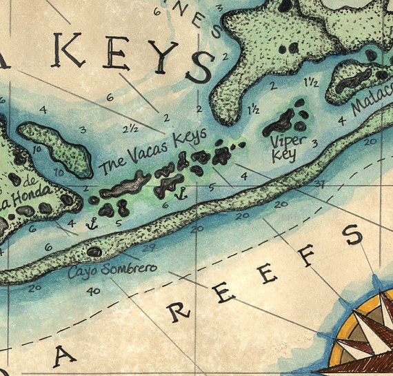 Map Of Florida Keys And Key West.Florida Keys Reef Map Art C 1829 12 X 16 Key West Map Key West
