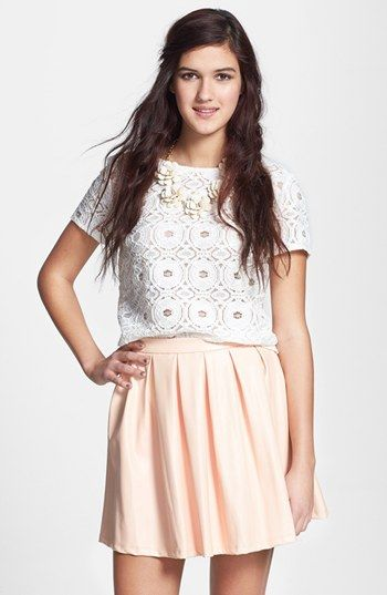 Mimi Chica Pleat Faux Leather Skirt (Juniors) available at #Nordstrom