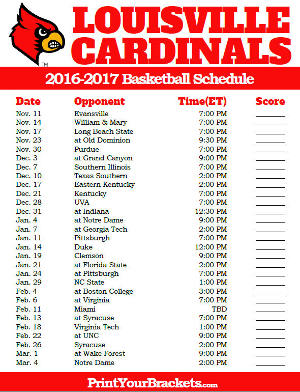 graphic regarding Kentucky Basketball Schedule Printable called Louisville Cardinals 2016-2017 School Basketball Plan