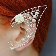 Elf Ear Cuff Fairy Earrings Elven Ears Flower Earrings Pearl Ear Cuff Silver Plated Wire Gift Non Pierced Pair Elvish Wedding