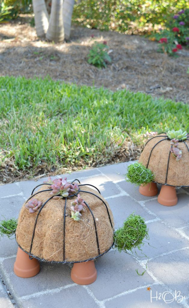 How to Make a DIY Turtle Topiary is part of Diy garden projects, Outdoor diy projects, Creative gardening, Garden projects, Garden yard ideas, Garden art - How to make a DIY turtle topiary tutorial from simple dollar store and hardware items  Fill with cactus and place in your garden for sweet DIY garden decor