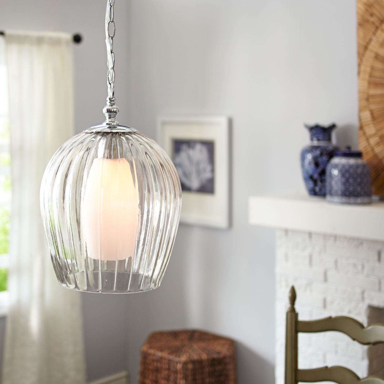Kitchen Sink Pendant Light How To Build Your Own Island Fluted Lamp Clear Pier 1 Imports Interiors