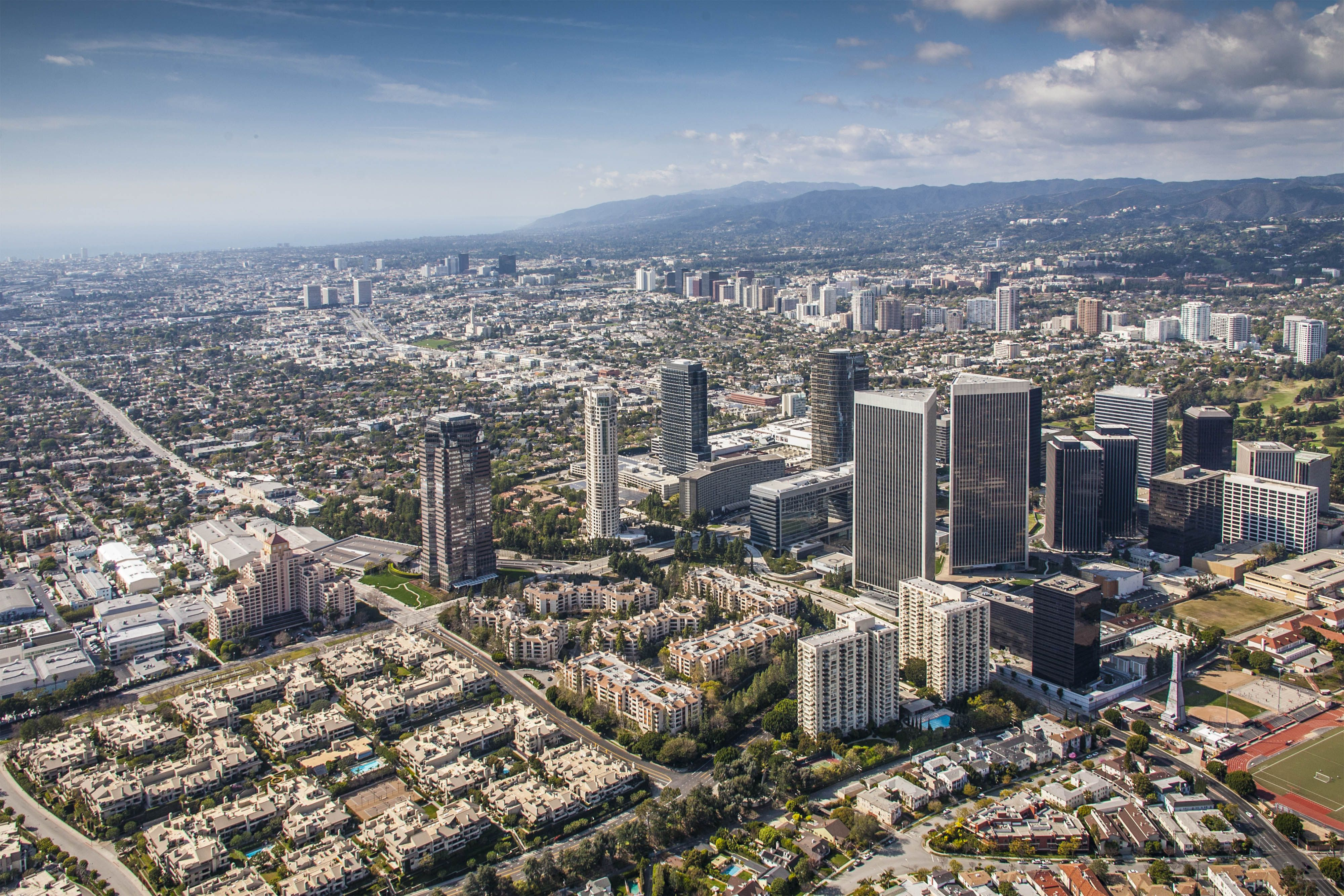 Century City ,Ca with Beverly Hills in background Aerial