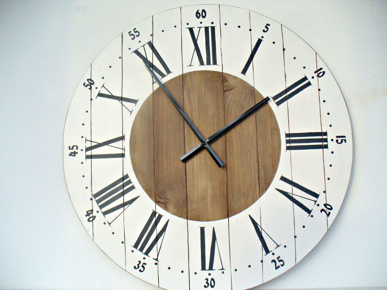 Exceptionnel Large Wall Clock 24 Inch Wall Clock Wall Decor Rustic Kitchen Decor Wall  Clocks Big Wall