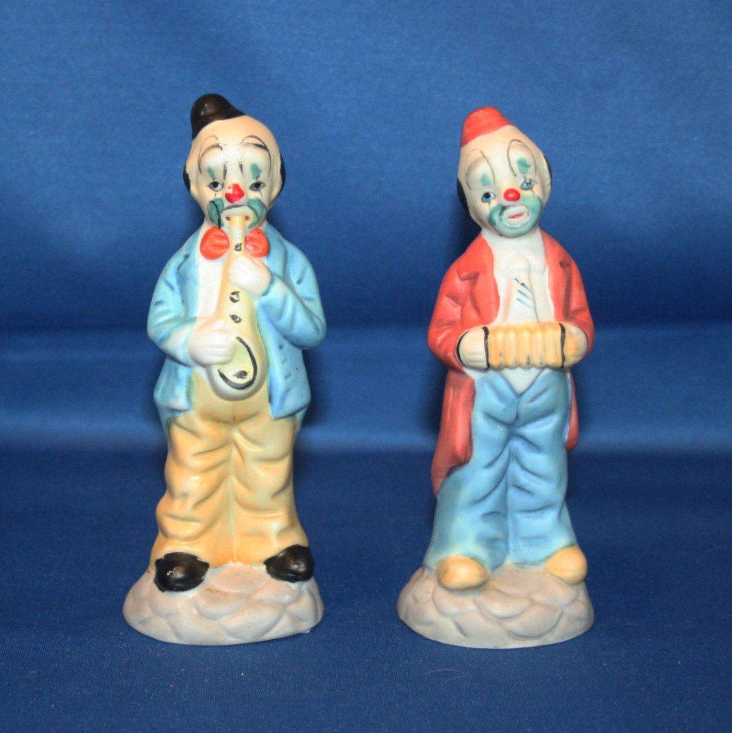 083a6049e93f4 Vintage Musical Clown Figurines 2 Hand Painted Bisque Ceramic Clown ...