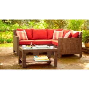 Hampton Bay Beverly 5 Piece Patio Sectional Seating Set With Dragon