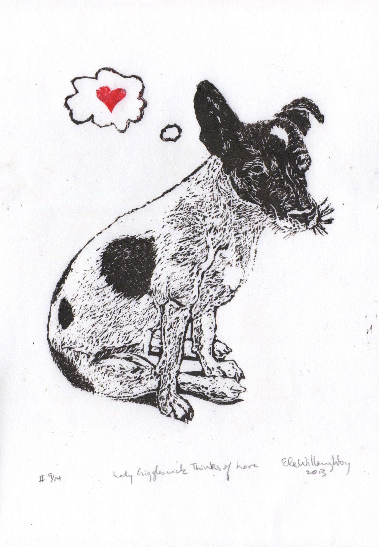 Jrt Love Print Lino Block Print Of A Jack Russell Terrier