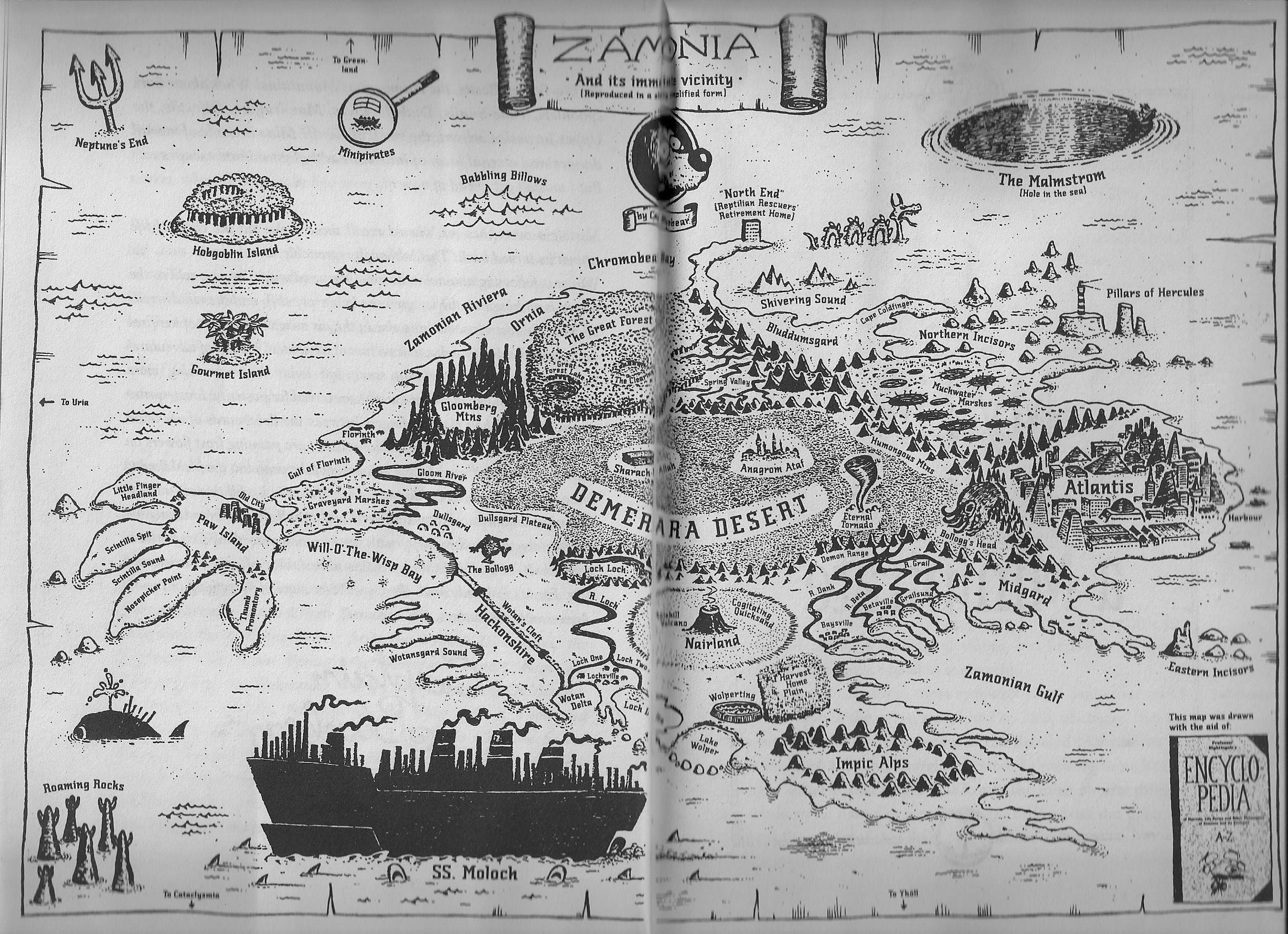 zamonien karte Map of Zamonien (Zamonias) from the wonderful book