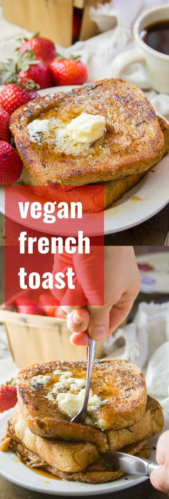 You can't beat a classic! This vegan French toast tastes like the stuff you grew up eating, but is made with absolutely no eggs or dairy. Grab some maple syrup and dig in! can't beat a classic! This vegan French toast tastes like the stuff you grew up eating, but is made with absolutely no eggs or dairy. Grab some maple syrup and dig in!