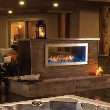 Double Sided Outdoor Fireplace With Bench Google Search In 2020
