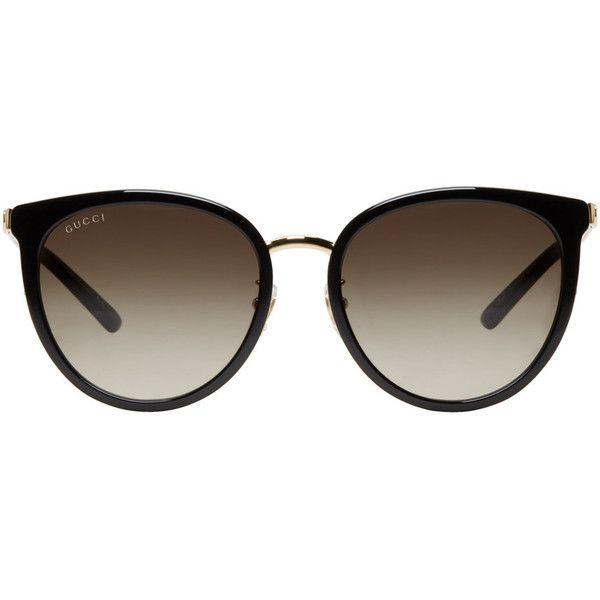 Pin By Iffah Fathin On Style: Gucci Black And Gold Retro Cat Eye Sunglasses (1,605 MYR