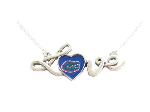 Florida Gators Team Logo Love Script On Silver Plated Necklace