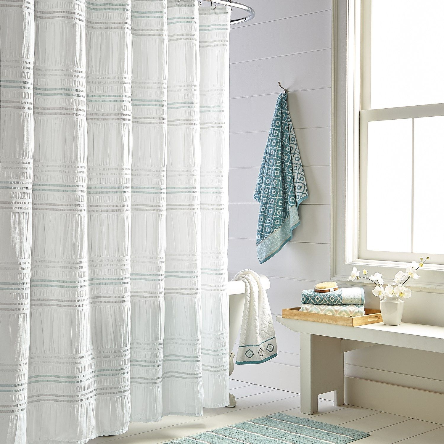 Toledo Printed Shower Curtain In 2019 Striped Shower Curtains