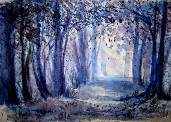 Lindas pinturas em aquarela paisagem por Anna Armona