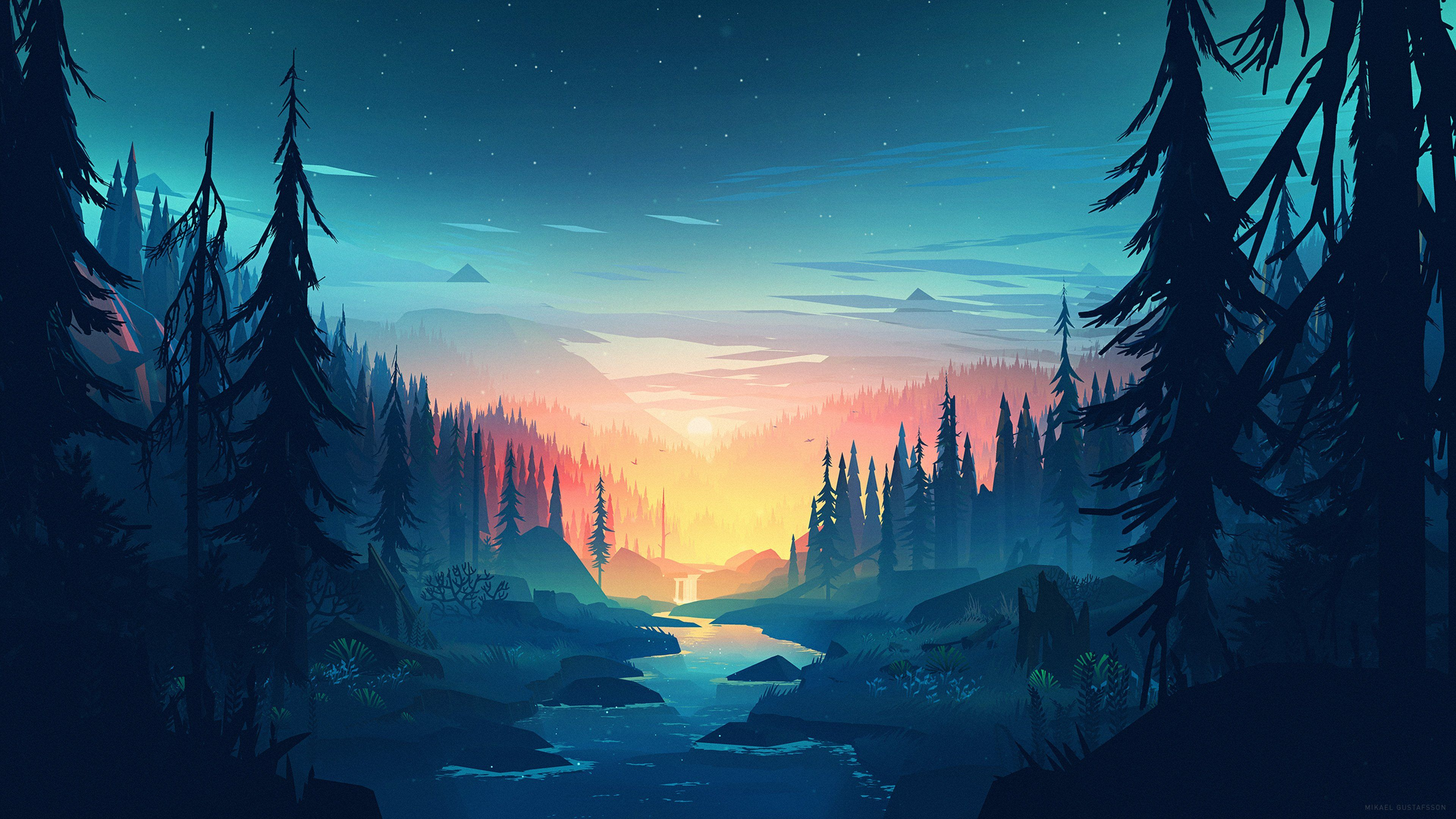 Art style inspired by Firewatch Landscape wallpaper