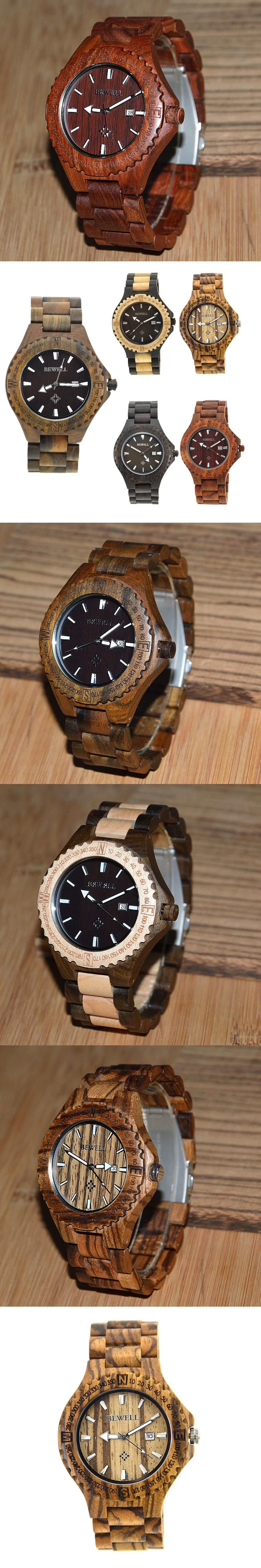 2016 New Brand BEWELL Handmade Sandalwood Watch Casual Calendar Wood Watches for Man Gift Items with Box 023A