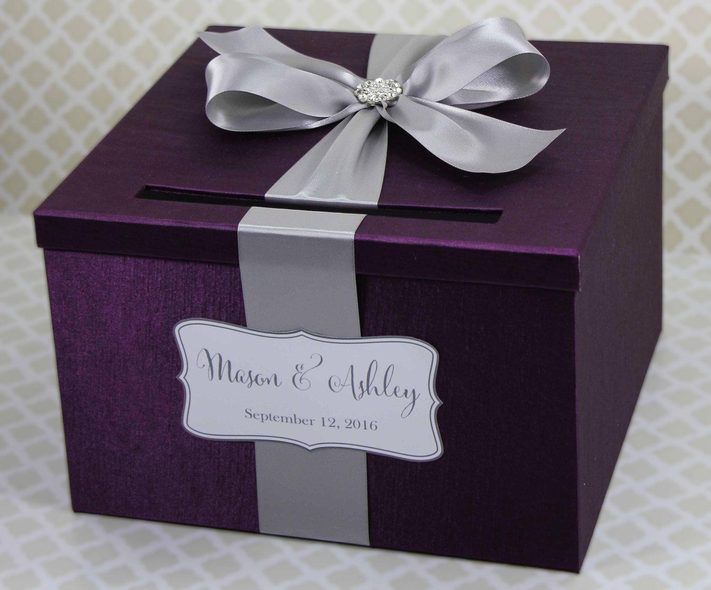 Wedding card box plum purple and silver customizable in