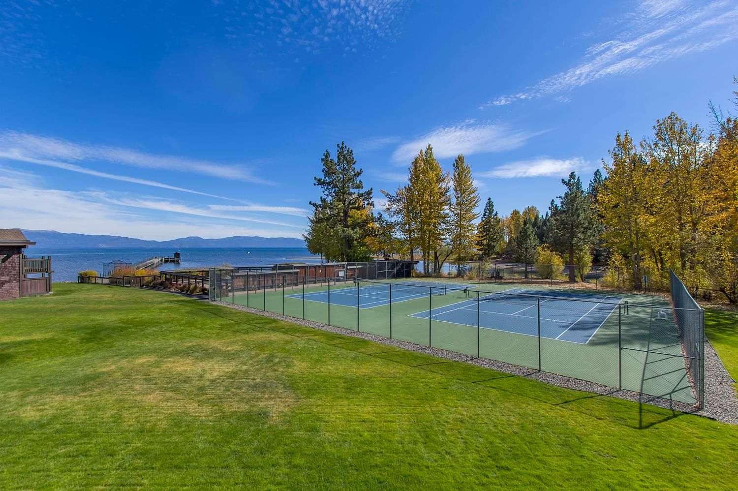 Tennis courts and Lake Tahoe from the Tahoe Marina Lodge