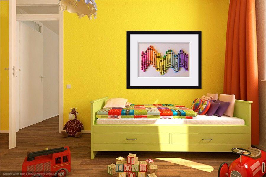 Rainbow Crayon Photo, Colorful Playroom Art, Children\'s Wall Decor ...