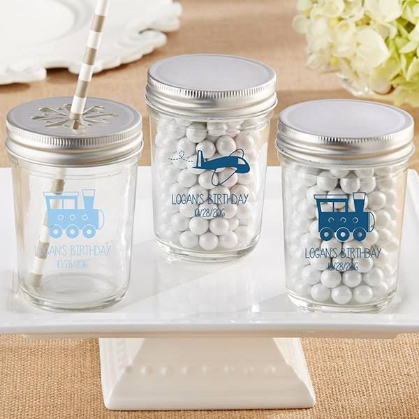 Cute Little Mason Jars With Personalized Plane And Train Designs Make The Cutest Favors For A Precious Carg Mason Jars Glass Mason Jars Personalized Mason Jars