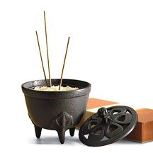 Japanese incense burner and holder in a classic, cast iron tripod