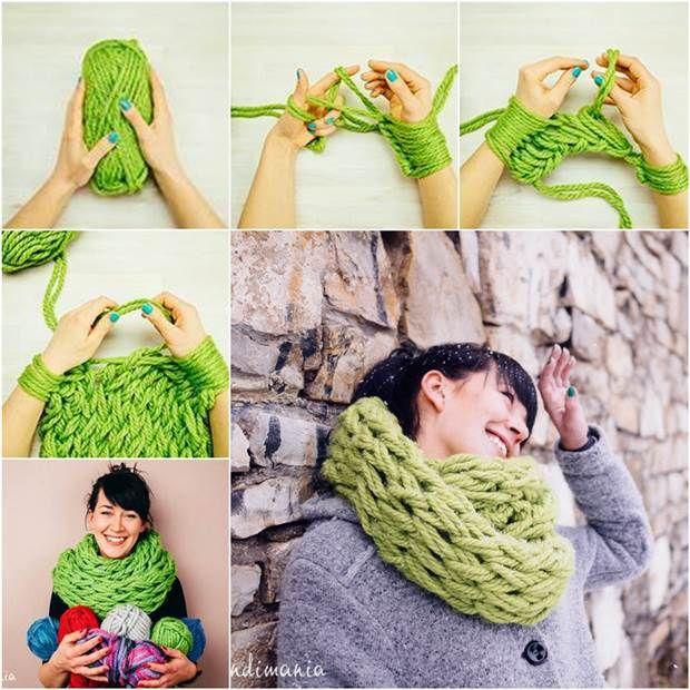 Como DIY Fácil Arm-lenço feito malha
