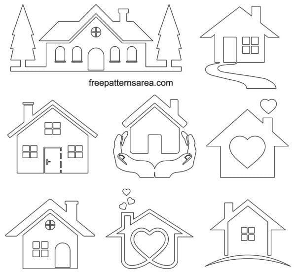 House Silhouette Clipart Vector Illustrations Freepatternsarea House Silhouette Outline Pictures Simple House Drawing