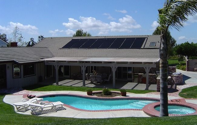 Modern Home Designs Solar Power Systems For Homes Black Panels Gey Roof Modern Swimming Pool Natural St Solar Pool Heating Solar Hot Water System Solar Pool