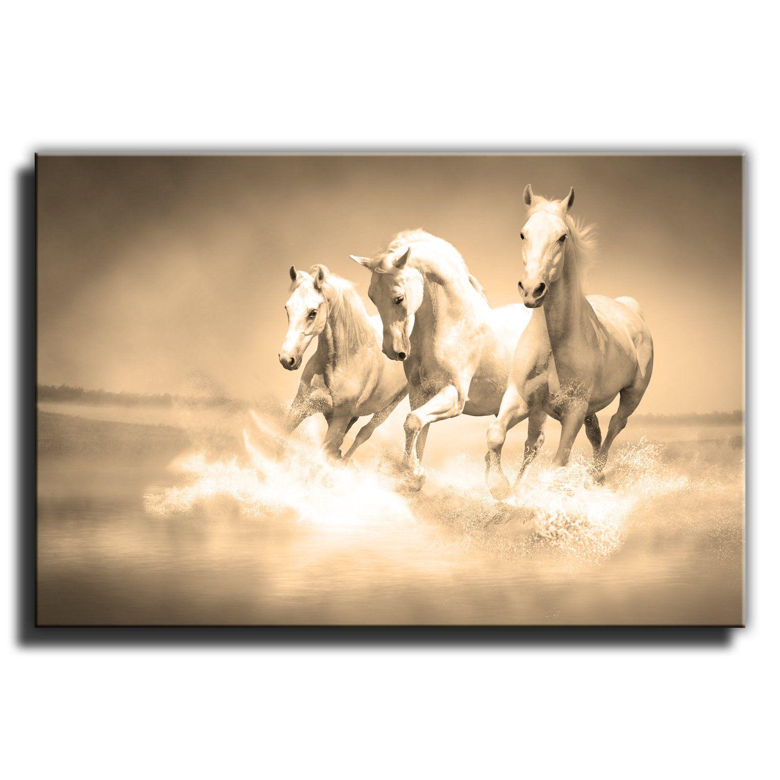 Canvas Culture - Running Horses Landscape Canvas Art Print Box ...