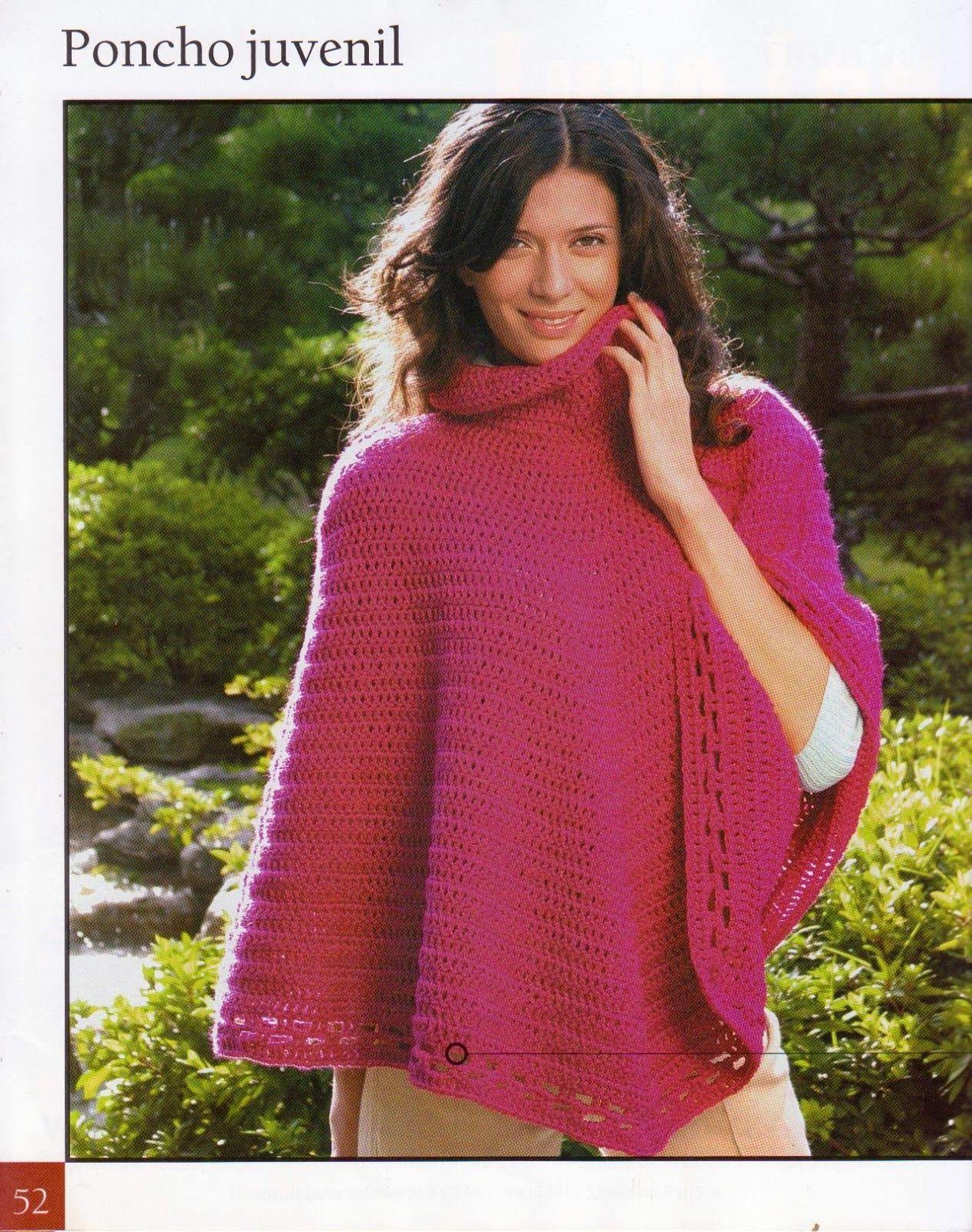 Poncho juvenil fucsia | Ponchos | Pinterest | Patrones crochet ...