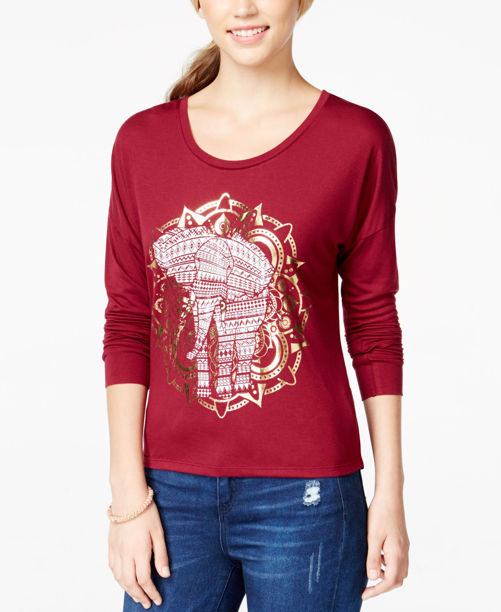 Belle Du Jour Juniors' Elephant Foil Graphic Long-Sleeve Top