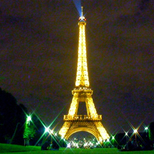 Eiffel tower at midnight.