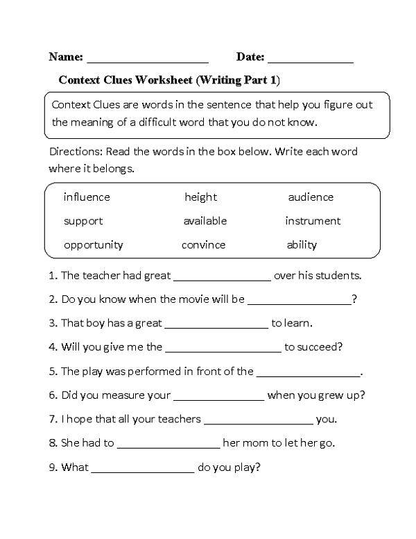 Third Grade Worksheets | Context clues worksheets, Third ...