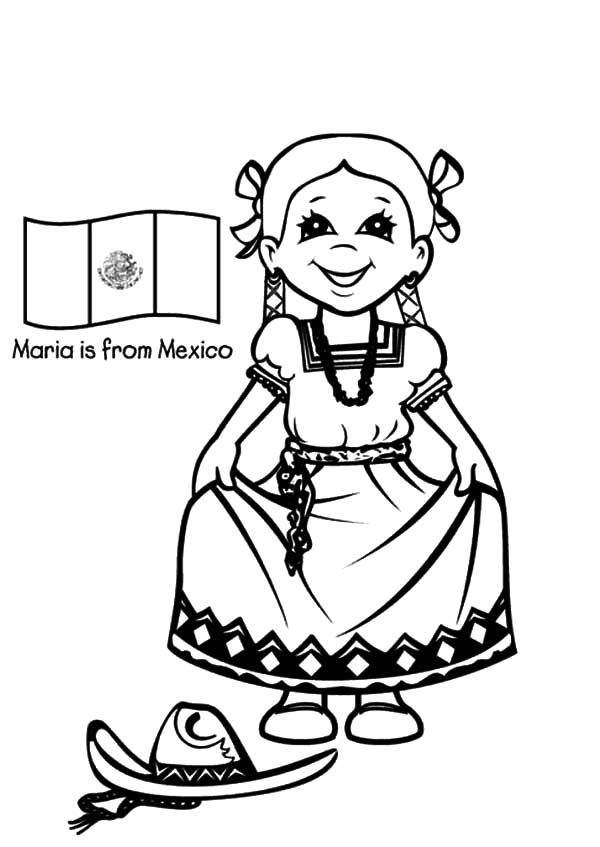 Mexican Dress, Beautiful Mexican Girl Dress Coloring Pages ...