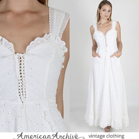 Vintage 70s Gunne Sax Dress White Eyelet Floral Lace Boho Wedding Hippie Party Maxi