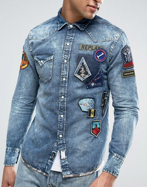 f147516ca09 Replay Regular Fit Space Badges Camo Trim Denim Shirt