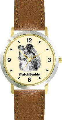 Shetland Sheepdog (SC) Dog - WATCHBUDDY® DESIGNER DELUXE TWO-TONE THEME WATCH - Arabic Numbers-SAND & SOIL STYLE - Pale Yellow Dial with Brown Leather Strap-Children's Size-Small ( Boy's Size & Girl's Size ) WatchBuddy. $49.95. Save 38% Off!